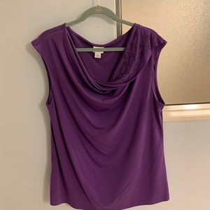 Jaclyn Smith XL purple top with black accents